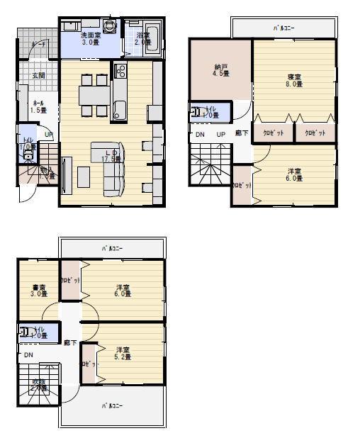 39坪5LDK収納の多い三階建ての間取り   三階建て 間取り