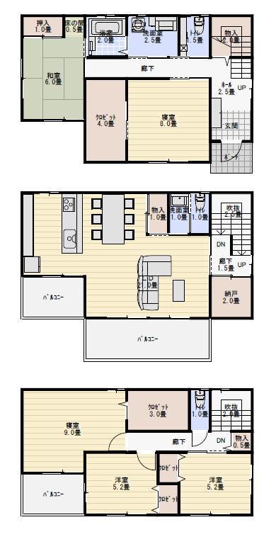 三階建て二世帯住宅の間取り   三階建て 間取り