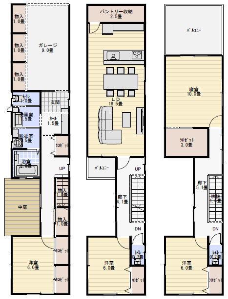 狭小間口の中庭付三階建ての間取り   三階建て 間取り
